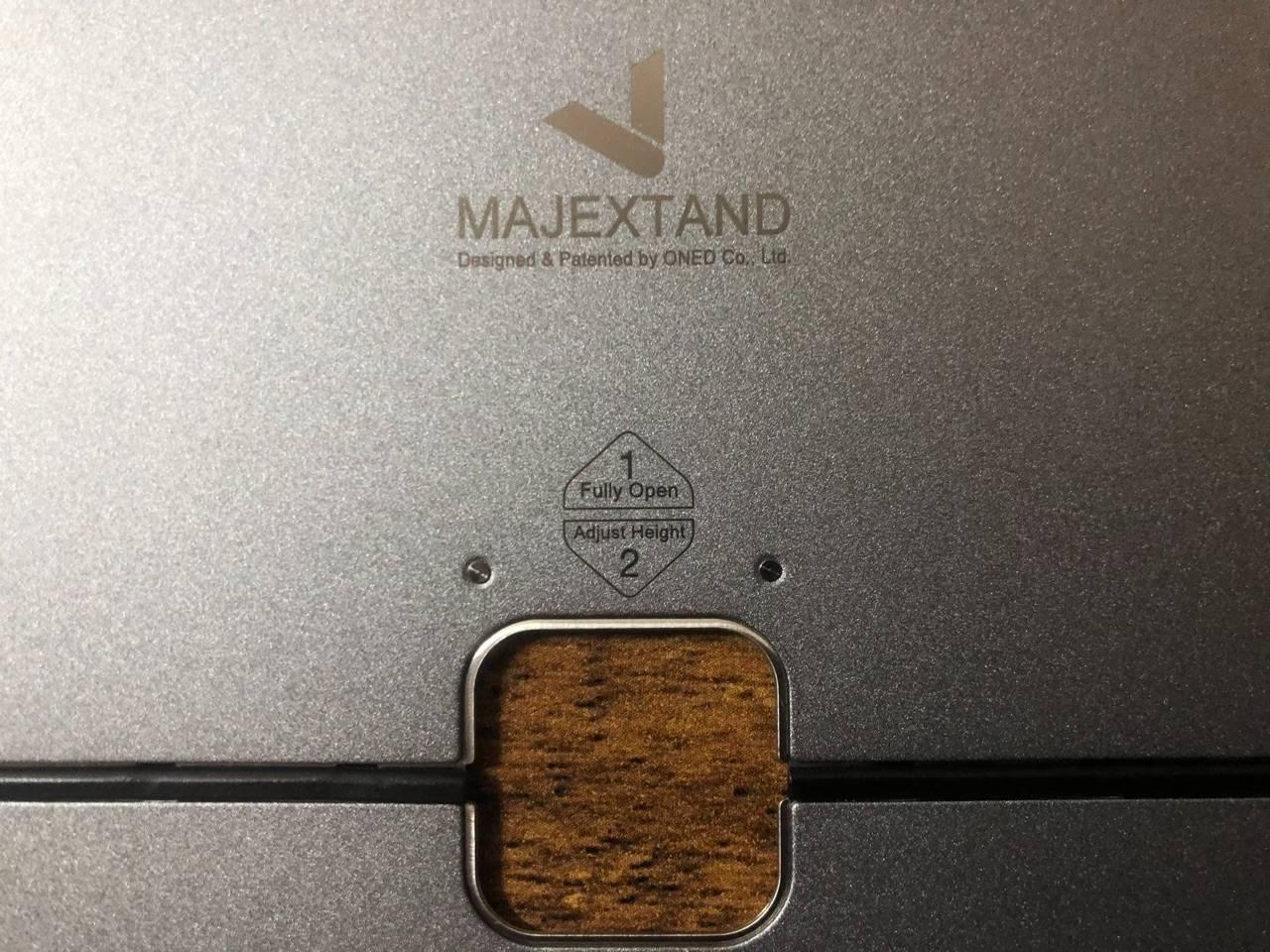 majextand本体に、1番・2番と番号がついており、1番側で1段階、2番側で5段階、合計6段階の高さ調節が可能です。